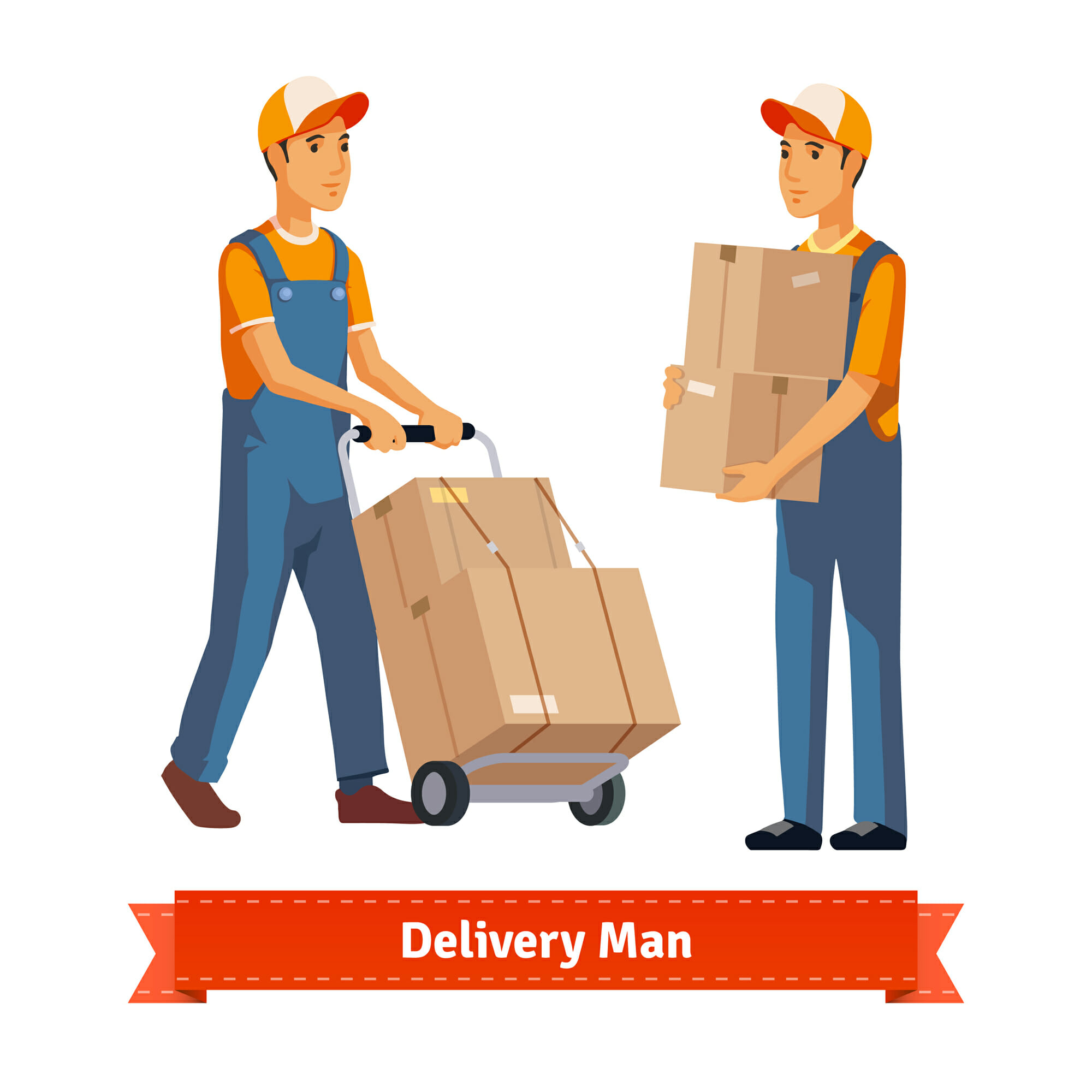 Delivery man with boxes. Flat style illustration. EPS 10 vector.